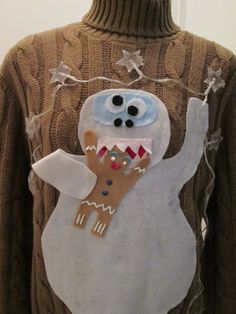 Ugly Christmas Sweater Abominable Snowman Eating Gingy From Shrek with Christmas Lights