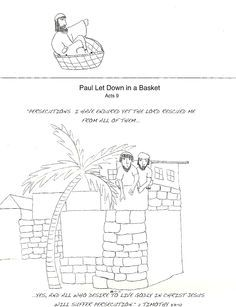 Acts 81 3 91 3 pauls conversion baptism paul lowered in a paul let down in a basket fandeluxe Gallery