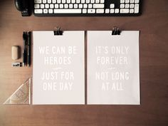 "It's Freebie Friday! Come download my David Bowie Free Art Printables, featuring lyrics from ""Heroes"" and ""Underground."" Scroll down for more freebies!"