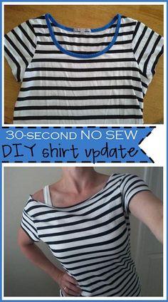 30-second no sew DIY shirt update