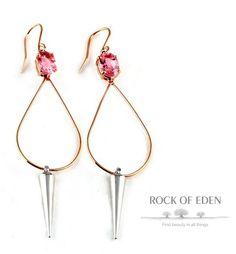 Rose Gold, Pink Tourmaline, Spike Earrings | rockofeden.com #rockofeden #findbeautyinallthings #accessories #gold #tourmaline #spike #earrings