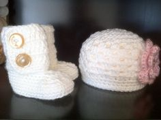 Perfect baby girl gift set ankle booties shell by creationsbytiff, $36.00