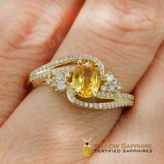 Yellow Sapphire brings good luck and fortune. It should be studded with a gold ring and worn on the index finger, on a Thursday. Yellow Sapphire Rings, Sapphire Jewelry, Rings Online, Blessing, Thursday, Gold Rings, Finger, Rose Gold, Elegant