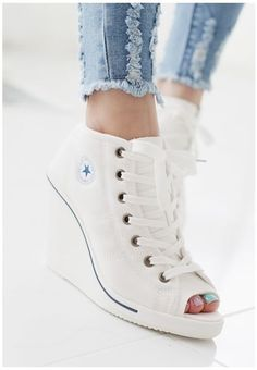 MAX Women Wedges Shoes Ankle Boots Platforms Lace up Sneakers Zip Open Toe   Clothing, Shoes & Accessories, Women's Shoes, Heels   eBay!