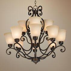 Bronze Over Iron Twelve Light Chandelier   LampsPlus.com