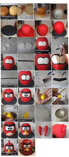 How to make a fondant angry birds cake Gâteau Angry Birds, Torta Angry Birds, Cake Decorating Techniques, Cake Decorating Tutorials, Cookie Decorating, Fondant Cakes, Cupcake Cakes, Fondant Bow, Fondant Flowers