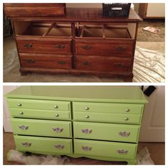 Before and after: $15 dresser from good will, painted drawers and body, spray painted handles. Total spent: $30