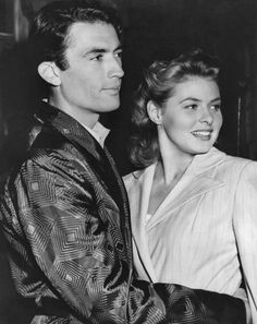 Gregory Peck and Ingrid Bergman in1945, on the set for Alfred Hitchcock's movie Spellbound