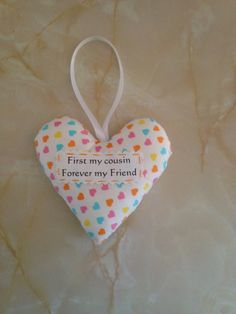 Cousin heart, Cousin gift, padded heart, gift box option by AndiesAccessoriesUK on Etsy