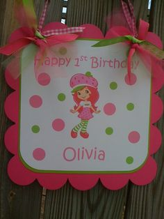 Customized Modern Strawberry Shortcake Cute by BurleyGirlDesigns 3rd Birthday Parties, 10th Birthday, Birthday Ideas, Strawberry Shortcake Birthday, Strawberry Decorations, Sofia Party, Vintage Party, Party Time, Birthdays