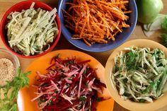 kohlrabi slaw with creamy avocado carrot slaw with miso vinegarette ...