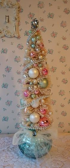 Shabby Bottle Brush Tree Aqua Mercury Glass and by IllusiveSwan! Love this Christmas tree! Victorian Christmas, Pink Christmas, Beautiful Christmas, All Things Christmas, Vintage Christmas, Christmas Holidays, Christmas Bulbs, Christmas Mantles, Shabby Chic Christmas Decorations