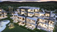 Extraordinary Real Estate Investment product: 276 Luxury Apartments For Sale in Estepona, La Costa del Sol By Nok, builders, architects and investors in Marbella & Madrid. Modern Villa Design, Dream Mansion, Mansion Interior, Luxury Homes Dream Houses, Modern Mansion, Dream House Exterior, Dream Home Design, Modern House Plans, Facade House