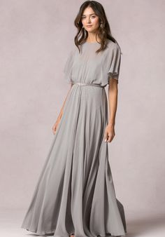 Bateau neckline with flutter sleeves on a blouson overlay floor length dress | Jenny Yoo | https://www.theknot.com/fashion/peyton-jenny-yoo-collection-maids-bridesmaid-dress