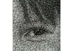 Kumi Yamashita: Constellations series: CY [eye close-up] - Wood panel, brads, single sewing thread Kumi Yamashita, Eye Close Up, Layout, Thread Art, Inspiring Things, Japanese Artists, Mark Making, String Art, Nail