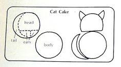 How to cut a cat-shaped cake from 2 round cakes (Original via Betty Crocker)