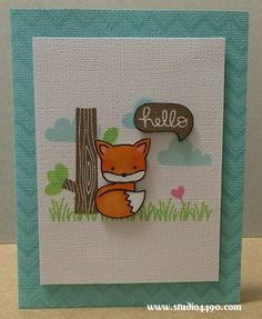 Hello Materials used: Stamps - Chevron Backdrops, Critters on the Savanna, Into the Woods (Lawn Fawn); Cardstock - American Crafts; Hero Art...