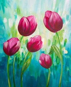Join us for a Paint Nite event Thu Oct 2017 at South Trail Crossing, 4307 130 Ave SE Calgary, AB. Purchase your tickets online to reserve a fun night out! Tulip Painting, Easy Canvas Painting, Simple Acrylic Paintings, Spring Painting, Acrylic Art, Canvas Art, Acrylic Painting Flowers, Arte Pallet, Fleurs Diy