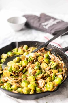 The best side dish is creamy cheesy Brussels sprouts with garlic and bacon. Made in a skillet and on the table in no time. A great tasting side dish recipe. Want to try? visit thetortillachannel.com for the full recipe and instructions