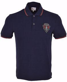 New Gucci Men's Blue SLIM Fit Hysteria Crest Web Stripe Polo Shirt Medium #Gucci #PoloRugby