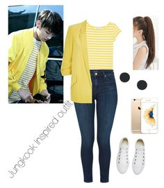 """""""BTS Inspired Outfit"""" by imaginekpopoutfits on Polyvore featuring agnès b., J Brand, River Island and Converse"""