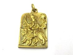 1 Pendant - Hindu Goddess Durga Maa and Om reversible Brass amulet pendant - CP114