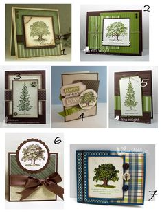 Various cards made from Stampin' Up! Lovely as a Tree stamp set. Love these man cards!