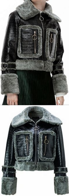 Crocodile Effect Faux-Leather Bomber Jacket with Fur Trim
