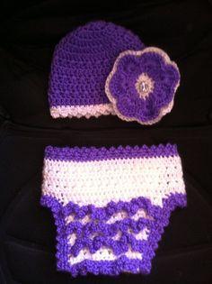 Crochet Newborn Hat & Crochet Diaper Cover by Snowbabyscreations, $25.00
