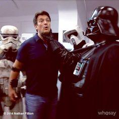 Nathan Fillion with Stormtrooper and Darth Vader - Star Wars