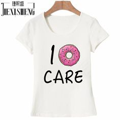 2017 Hot Summer Women T-shirt I Donut CARE Letter T Shirt Funny Print Tees Couple Tops