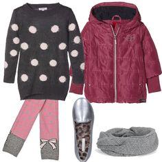 Bimba a pois  outfit Girl (6-11 years old) per tutti i giorni e scuola  ce9d4a496a11