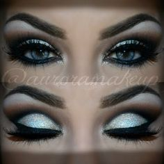 Cut Crease with Glitter. Love this look.