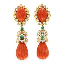 A Pair of Carved Coral, Emerald and Diamond Ear Pendants, by David Webb. Via FD Gallery, www.fd-inspired.com