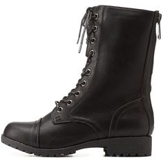 Charlotte Russe Black Bamboo Lace-Up Combat Boots by Bamboo at... ($43) ❤ liked on Polyvore