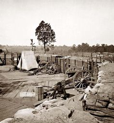 You are viewing an unusual image of Atlanta, Georgia. Confederate fort in front of Atlanta. It was taken in 1864 by Barnard, George N., 1819-1902.    The image shows United States Civil War, Confederate Entrenchments.