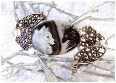 Black dragon and white wolf - stone painting OOAK by AlviaAlcedo.deviantart.com on @deviantART