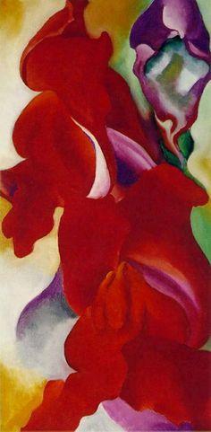 Georgia O'Keeffe, Red Snapdragons Floral Studies 1923 on ArtStack #georgia-o-keeffe #art