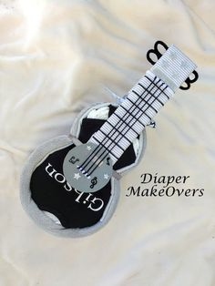 Guitar Diaper Cake Personalized Baby Gift by DiaperMakeOvers