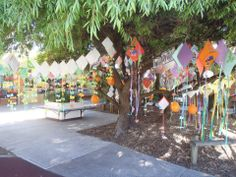 Every student made a kite that was displayed in the courtyard.