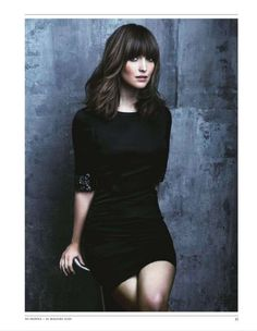 For L: half-moon bangs, midlength cut, layers