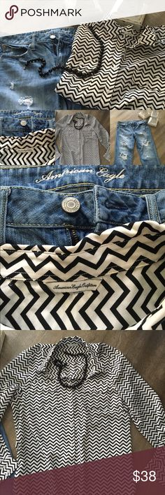⭐️AMERICAN EAGLE LOT⭐️ These destroyed jeans are a size ten regular however may fit a short as I am 5'4. The top is light weight white and black chevron with two pockets on the front. Very comfy and stylish! Pet free and smoke free home! I discount 20% with any purchase of two or more just hit bundle under the picture of each item you want👍😀 If you don't see what you want/ I have tons to list... Just ask! American Eagle Outfitters Jeans Straight Leg