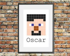 Personalised minecraft style name print by TheHappyCotswoldCo