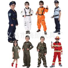 >> Click to Buy << 9 style Halloween party Cos clothes child police Firemen pilot air force captain Astronauts performance costume for 4-12Y H930 #Affiliate