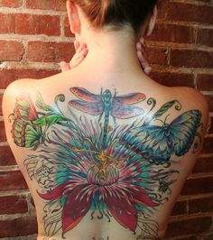Dragonfly, lotus, butterfly, tiny bee, garden tattoo back