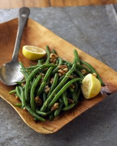 Green Beans with Lemons and Walnuts Recipe. Made a lot more of the sauce - really good!