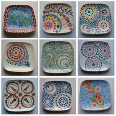 """""""In total 16 persons joined the today! Every one is unique, so are the hand painted ceramic plates. Painted Ceramic Plates, Painted Mugs, Hand Painted Ceramics, Ceramic Pottery, Pottery Art, Pottery Painting, Dot Painting, Ceramic Painting, Sharpie Crafts"""