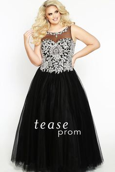 8d01ccf39e6 Tease Prom Be crowned Prom Queen in a regal plus size ball gown. Exquisite  gold embroidery on black illusion bodice. The Prom Store · Sydney s Closet