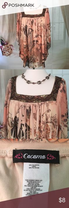 Cocomo Brown Blouse Today featuring in Kaki Jo's closet is this nice flowing floral brown blouse.  Great condition.  Size XL.  Note: necklace not included. Cocomo Tops Blouses