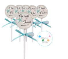 6 Customized Beach Wedding Lollipops!  wedding lollipops, wedding favors, Turquoise Favors, Beach Wedding lollipops, Beach Theme Candy by lollitukisweets on Etsy https://www.etsy.com/listing/484607808/6-customized-beach-wedding-lollipops